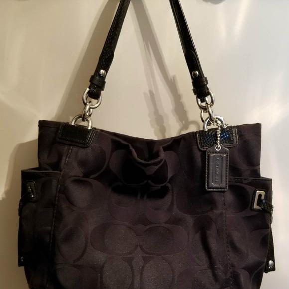 b69f40b7b9 Coach Handbags - Authentic Coach SIgnature Sateen Black Tote Purse